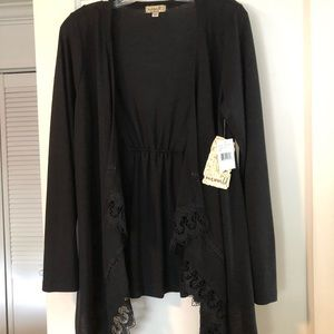 Black long sleeve lightweight open front cardigan